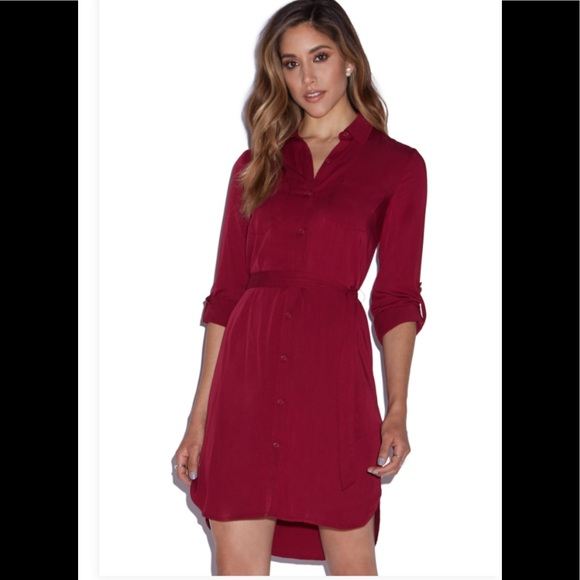 e65b271b9257 NWT JustFab 2 Pocket Shirt Dress in Burgundy
